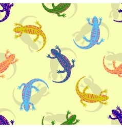 Hand drawn colorful salamander seamless pattern vector image