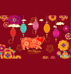 Happy chinese new year 2019 paper art flowers and vector