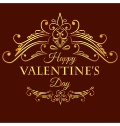 Happy valentine day card with decorative divider vector image