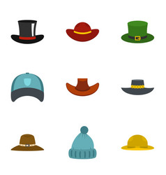 Hat icon set flat style vector