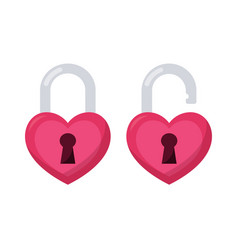 heart lock open and closed isolated vector image