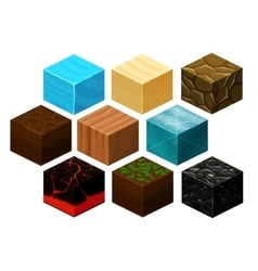 Isometric 3D cube textures set for computer vector