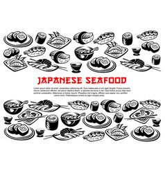 Japanese seafood poster of rolls and sushi vector