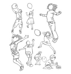 kids line art vector image