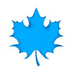leaf cut origami blue background vector image
