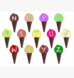letter n-z ice cream cones vector image