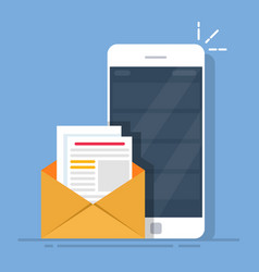 mail client on the mobile phone the concept of vector image