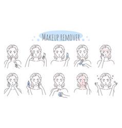 Makeup removal steps vector