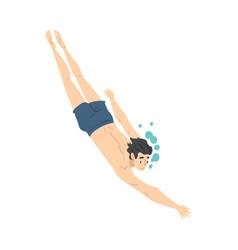 Man swimming pool guy in swimwear performing vector