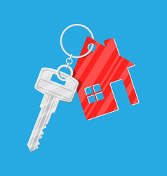 Metal key with keychain house in flat style vector