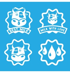 milk stamps collection with cow face vector image