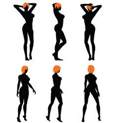 Naked sexy girls silhouette set vector image vector image