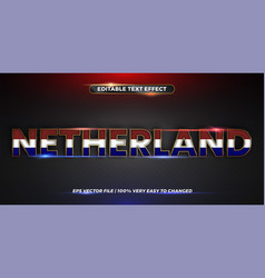 Netherland word with national flags - editable vector