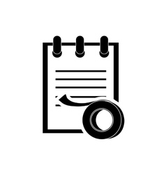 notepad and tape roll icon vector image