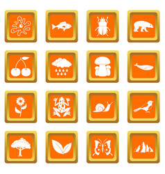 Oil industry items icons set orange vector