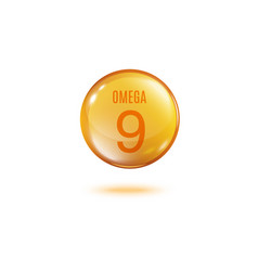 Omega 9 golden bubble pill with text inside vector