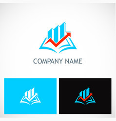 open book business finance arrow logo vector image