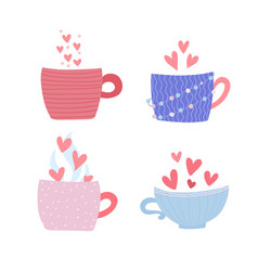 pastel color mug set four cups with hearts and vector image
