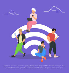 People in wi-fi zone flat stile vector