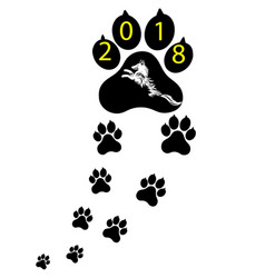 Pet symbol footprints of dog puppy animal of vector