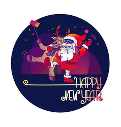 santa claus and deer happy new year vector image