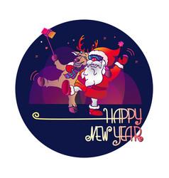 santa claus and deer happy new year vector image