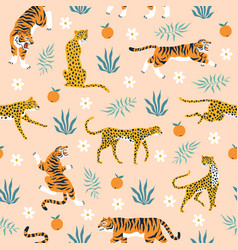 seamless pattern tigers trendy tropical vector image