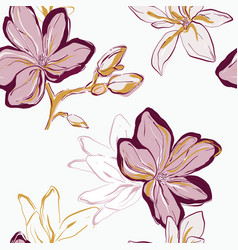 Seamless pink green yellow floral pattern tender vector