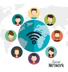 set avatar social network digital isolated vector image