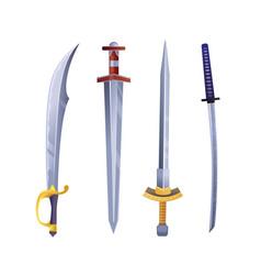 Set cartoon game swords vector