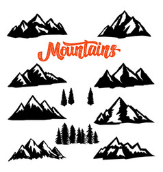 set of mountain peaks on white background design vector image