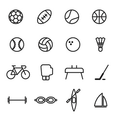 set sport line icons on white background vector image