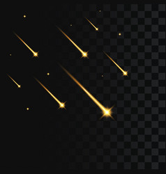 shooting stars on transparent falling gold star vector image