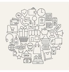 Shopping and E-commerce Line Icons Set Circular vector image