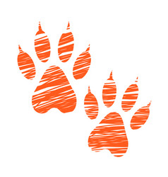 Sketched dog footprints stylized scratched dog vector
