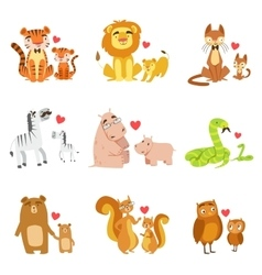 Small Animals And Their Dads Set vector image