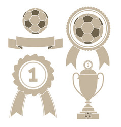 Soccer icon ball ribbon award cu vector