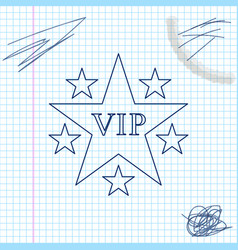 Star vip with circle stars line sketch icon vector