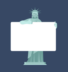 statue of liberty holding banner blank american vector image