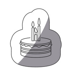 sticker silhouette birthday cake with candles vector image