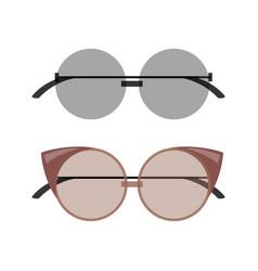 stylish female round and cat-eye sunglasses set vector image