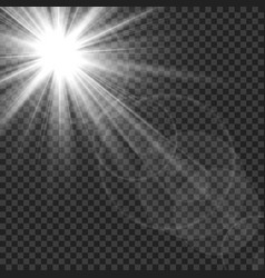 Sunlight isolated sun rays light lens flare glare vector