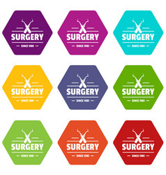 Surgery icons set 9 vector
