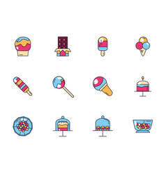sweet dessert jar candy and pastry icons set vector image