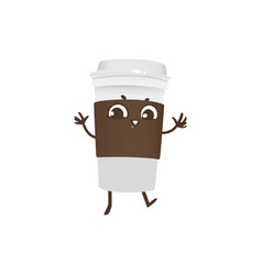 takeaway plastic cup of coffee cartoon character vector image