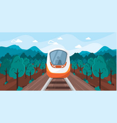 train perspective view landscape with background vector image