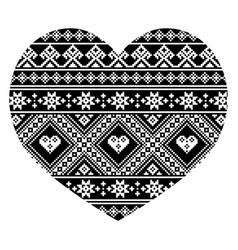 ukrainian and belarusian folk art pattern heart vector image