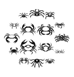 various crab icons set simple style vector image