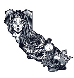 Vintage monochrome chicano tattoo template vector