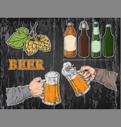 Watercolor hands holding with beer glasses mug vector